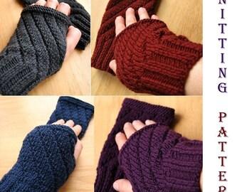 Knitting Pattern - Fingerless Gloves Mitts Texting Gloves - Darting Diagonals - PDF Digital Download