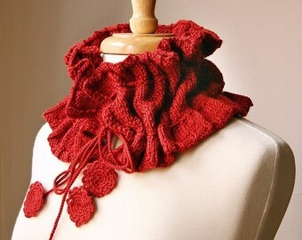 Scarf Knitting Pattern, Victoriana Scarflette, PDF Digital Download, Romantic Ruffle Scarf, Cowl Neckwarmer, Collar, Tutorial, How To Knit