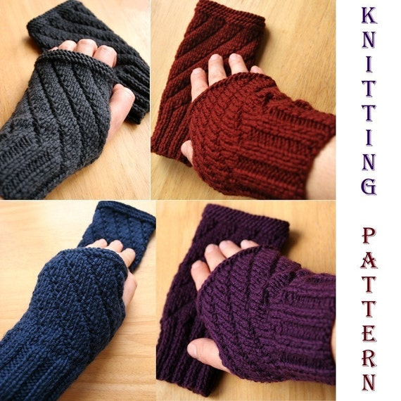 Knitting Pattern For Texting Mittens : Knitting Pattern Fingerless Gloves Mitts Texting Gloves
