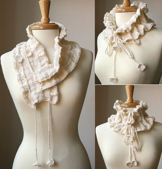 Scarf KNITTING PATTERN / Winter VICTORIANA Scarflette / Scarf Knitting Pattern / Crochet Pattern / Scarf Tutorial / Elegant Scarf, Hygge