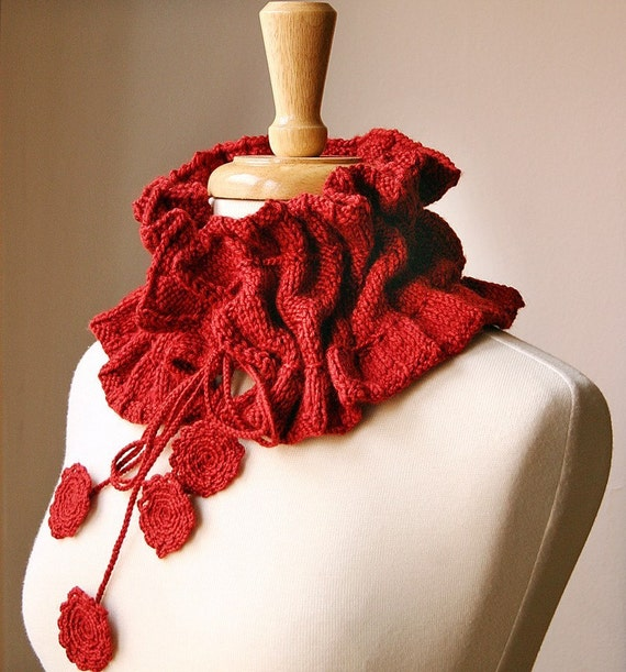 Scarf Knitting Pattern - Victoriana Scarflette - Romantic Ruffle Scarf - Cowl Neckwarmer - PDF Digital Download