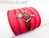 Hunger Games Inspired Wrap Bracelet with Silver Bow & Arrow - Hand Painted Red Blaze Silk Ribbon - Warm Summer Colors - Yoga Jewelry