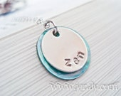 Sterling Silver Stamped Disc Necklace with Teal Mother of Pearl - Custom Name Bridesmaid Wedding Gift Pendant