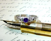 Willow Ring - Vintage Sterling Silver Floral Stack Band with Purple Amethyst February Birthstone
