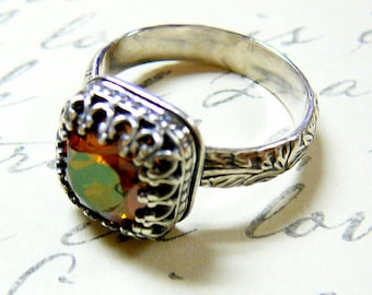 Ana Ring - Vintage Sterling Silver Floral Band Swarovski Crystal Ring with Tiara Crown like bezel
