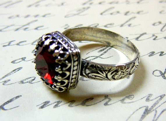 Ana Ring - Vintage Goth Sterling Silver Floral Band Siam Red Swarovski Crystal Ring with Tiara Crown like bezel