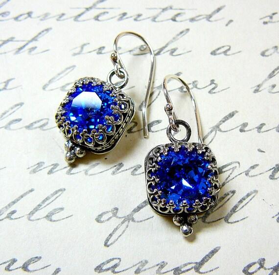 Vintage Sterling Silver Tiara Crown like bezel Sapphire Blue Swarovski Crystal Earrings - Something Blue