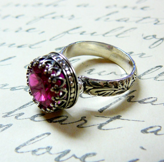 Elizabeth Ring - Vintage Engagement Sterling Silver Created Ruby Ring with Tiara Crown like bezel - Wedding