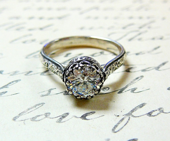 Georgiana Ring - Vintage Engagement Sterling Silver Swarovski CZ Floral Band Ring with Tiara Crown like bezel - Wedding