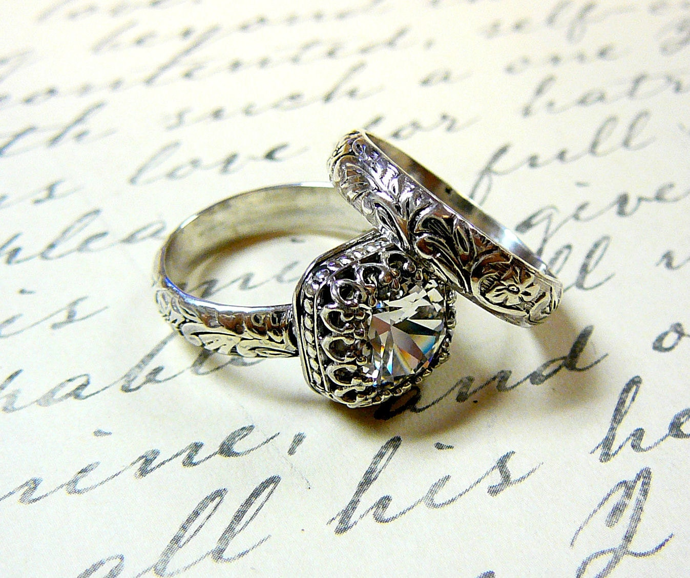 Anastasia Ring Duo Vintage Engagement Sterling Silver