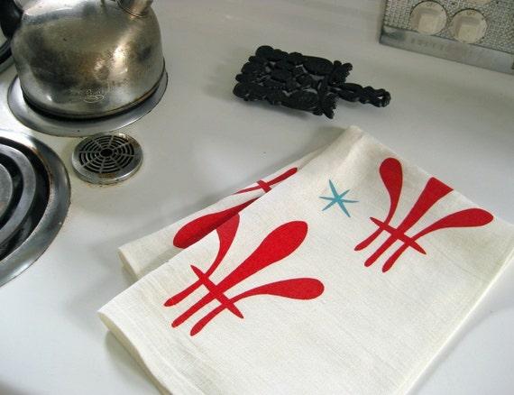 Julia Vol. 1 - Linen Tea Towel (tomato\/blue pool on white linen)