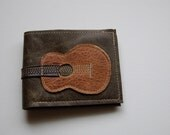 old guitar repurposed leather wallet