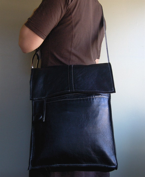 black and a little white repurposed leather messenger