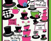 Mad Hatter Tea Party Digital Elements Clip art Modern Funky Tea Party- Instant Download