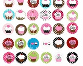 NEW Funky Cupcake Digital Collage Sheet Whiimsical Polka dot Cupcake 1 inch Circles for Bottle cap pendants and Pebble magnets