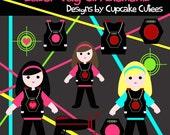 Laser Tag Girls Neon Element Clip art Digital Embellishments Commercial use Instant Download