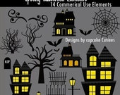 Spooky Halloween  Digital Clipart Elements Commercial use for paper, invites, and web design