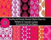 Fuchsia and Orange Damask Digital Collage Sheets 8.5 by 11 Sheets Set Instant Download
