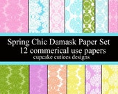 Spring Chic Damask Commercial USE Digital Collage Sheet Set of 12  Instant Download