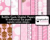 Bubble Gum  Collage Sheets 8.5 by 11 Papers Set of 14 igital Papers Instant Download