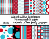 Funky Red and Blue Papers Digital Collage Sheets 12 x 12 Set of  InsTaNt DoWnLoAd