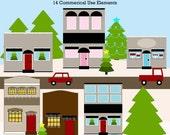 Christmas Village  Element Clip art Digital Embellishments Commercial use Instant Download