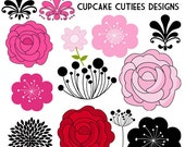 Flora Modern Flowers  Digital Clipart Elements Commercial use Instant Download