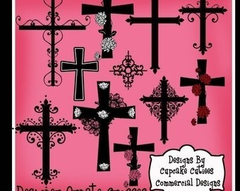 Ornate Crosses Digital Clipart Elements Commercial use for paper and invites- Instant DownLoAd