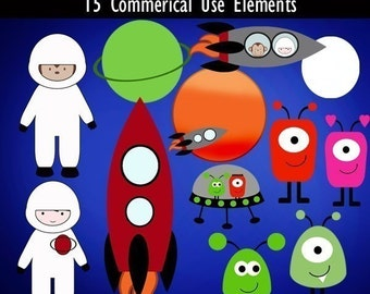 Super Space and Aliens Digital Clipart Elements Commercial use Instant Download