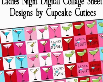 Divine Drinks Digital Collage Sheets Scrabble Tile .75 by .83 Ladies Night Designs