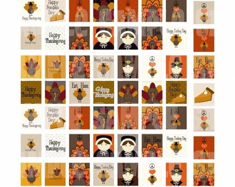 Happy Thanksgiving - Collage Sheet Sets- Circles Scrabble- Instant Download