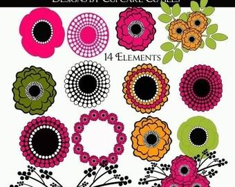 Flower MOD POP  Whimsical Digital Clip art collection 14 Elements- Instant Download