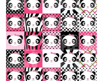 Pink Panda Digital Collage Sheet 1.5 Bright Adorable panda set