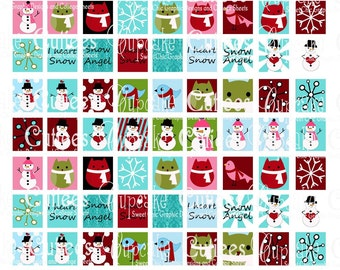 I heart Snow Digital Collage Sheet .75 by .83 Square Tiles for Original Scrabble tiles
