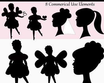 Silhouette Girls Digital Clipart Elements and Papers Commercial use Instant Download