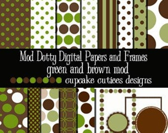 Mod Dotty  Elements Frames and Papers Digital Clip art Green n Brown Elements Commercial Instant Download