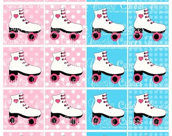 Roller Skating Digital Collage Sheet 2 x 2 Digital Collage Sheet Tags 2 X 2