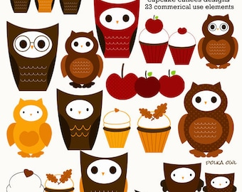 Fall Who's Cute Owl N  treats Whimsical Digital Clip art Commerical Use Clipart Elements Instant Download