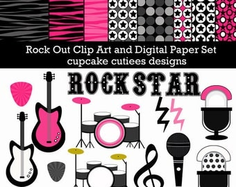 Rock Out   Digital Clipart Elements and Papers Commercial use for paper, invites, and web design INstant download