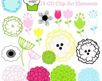 Spring Love Mod Flowers  Digital Clipart Elements Commercial use for paper, invites, and web design