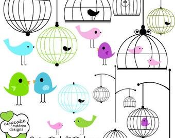 Spring Birds n Birdcages  Element Clip art Digital  Commercial use for Instant Download