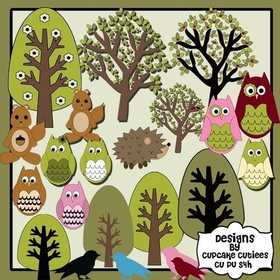 New Woodland Forest Friends Clip art Collection 21 Set Collection Earthy Colors