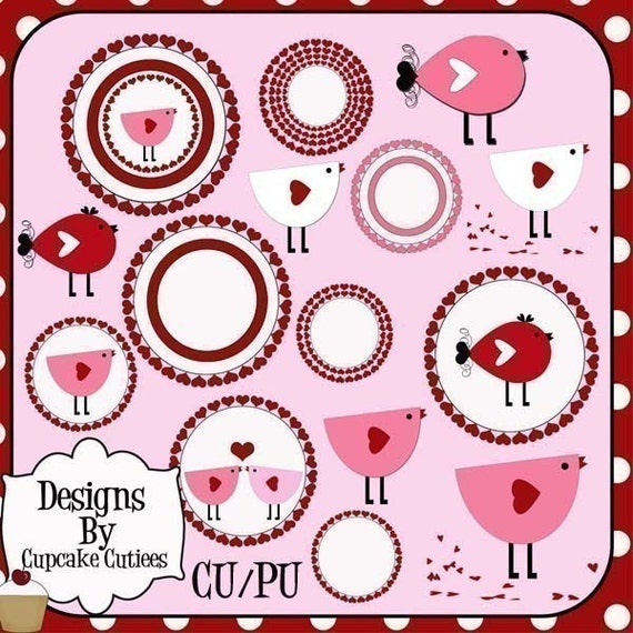 Love Birds Clipart Digital Graphics for Cards Stationary Paper and Web Design