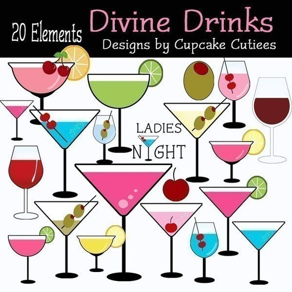 Divine Drinks  Whimsical Digital Clip art collection 20 Elements- INSTANT DOWNLOAD