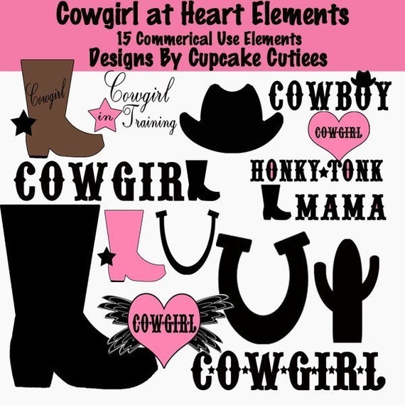 Cowgirl at Heart  Digital Clipart  Elements Commercial use for paper, invites InStAnT DoWnLoAd