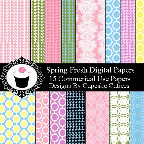 Spring Fresh Houndstooth Digital Paper Sheets 8.5 by 11 Sheets Set of 15 Instant Download
