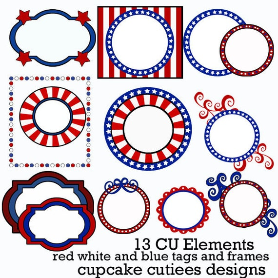 Fourth of July Tags  Digital Clipart and Papers Elements Commercial use for paper, digital , invites - INstaNt DoWnLoAd