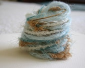 Elegant little blue bird at the feeder specialty yarn fiber embellishment bundle