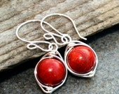 SALE- Red Coral Earrings, Wire Wrapped, Silver Earrings,Handmade Jewelry, Mothers Day gifts, Lovely gift, Under 50