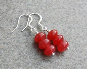 Sale- Red Cherry Jade Rondelle Dangling Earrings,Silver Wire Wrapped Handmade